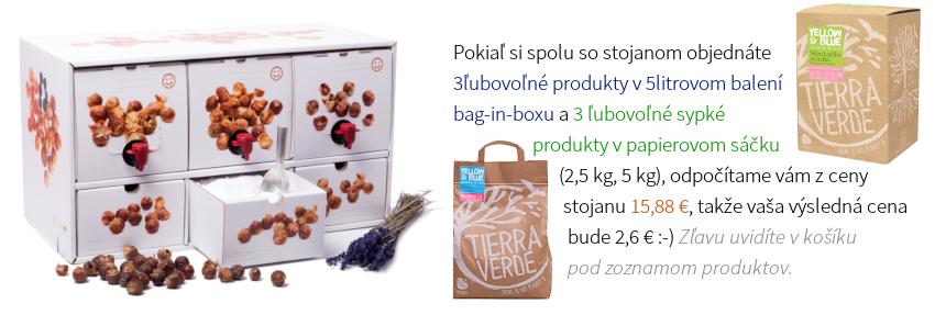 Pokiaľ si spolu so stojanom objednáte 3ľubovoľné produkty v 5litrovom balení bag-in-boxu a 3 ľubovoľné sypké produkty v papierovom sáčku (2,5 kg, 5 kg), odpočítame vám z ceny stojanu 15,88 €, takže vaša výsledná cena bude 2,6 € :-) Zľavu uvidíte v košíku pod zoznamom produktov.